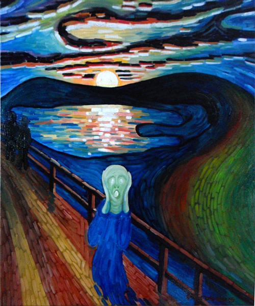 Vincent's Van Gogh's famous painting - 'The Scream' or 'The Shriek'. Copyright (c)2015 Paul Alan Grosse