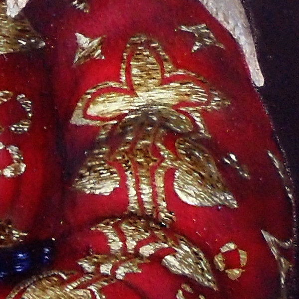 A closer look at Margaret the Netherlandish Alien's sleeve, showing the gold brocade. Copyright (c)2020 Paul Alan Grosse