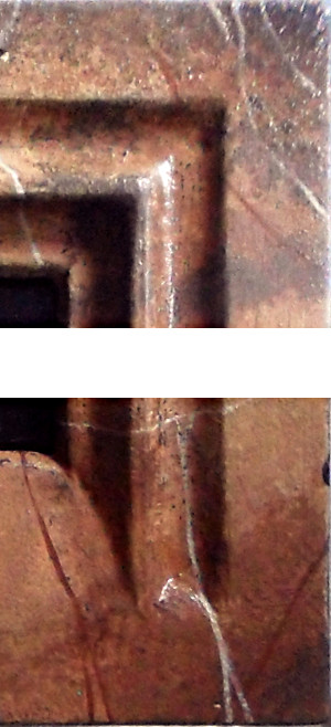 Close-up of the moulding corners of the frame of Margaret the Netherlandish Alien. Copyright (c)2020 Paul Alan Grosse