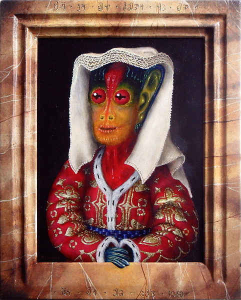 Margaret - Netherlandish alien painted in traditional Dutch headdress and brocade top with fir-lined collar and sleeves. Frame with trompe l'oeil engraved lettering in alien script and pastiglia fingers invading into the real world from inside the frame. Copyright (c)2020 Paul Alan Grosse
