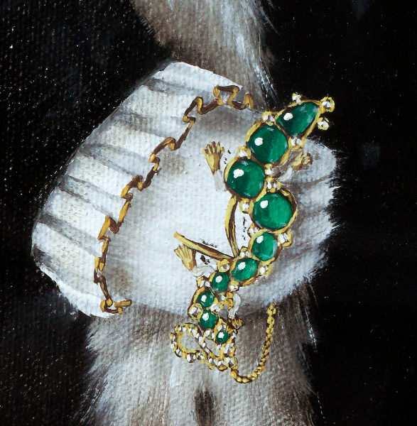 Details of the emerald and diamond salamander (with additional chain). The original was found in the Cheapside horde which was a small box, found in the basement of a jeweller's that had not been looked at since just after the reign of Elizabeth I. In effect, it had been lost to the world and only reappeared when workmen dug it up at the beginning of the 20th century. As this painting places the central character at the time of Elizabeth I, I thought it would be appropriate to indicate great wealth by him holding that very piece of jewellery before it was lost to us all. The piece itself is gold that has in places been enamelled as much gold jewellery was at the time and in it are set square diamonds and emeralds that have been cut so that their surface is rounded - cutting emeralds so that they had flat faces apparently wasn't done until much later. The chain is added simply because cats don't have opposing thumbs. Copyright (c)2016 Paul Alan Grosse