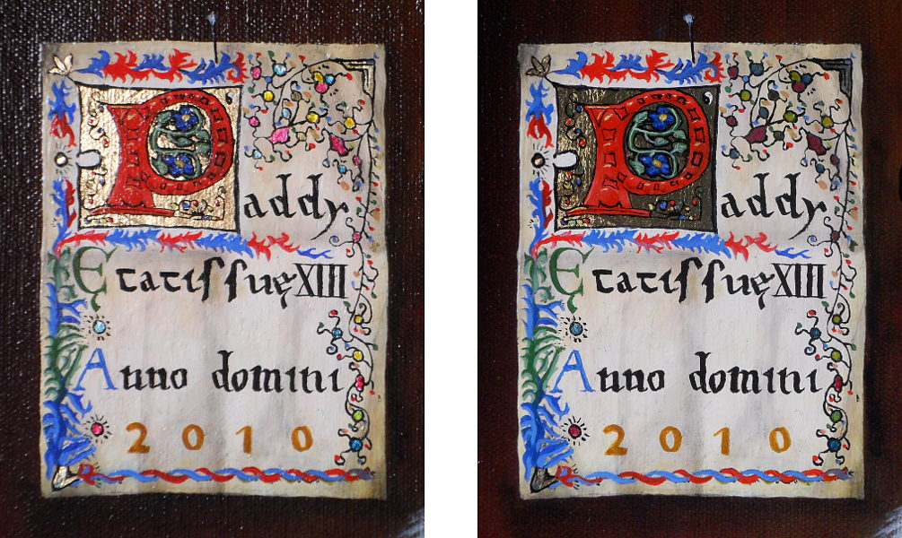 This is a stereoscopic image of the illuminated parchment in the top left of the painting. In order to fulfil the claim of being truly illuminated, it has to have gold leaf on it (this prerequisite could be just those who know how to use gold leaf trying to belittle those who don't). Here, the parchment has gold leaf in the letter 'P' and a few other places around it and, it also has silver leaf that has had transparent paint put upon it so as to colour it. Copyright (c)2016 Paul Alan Grosse