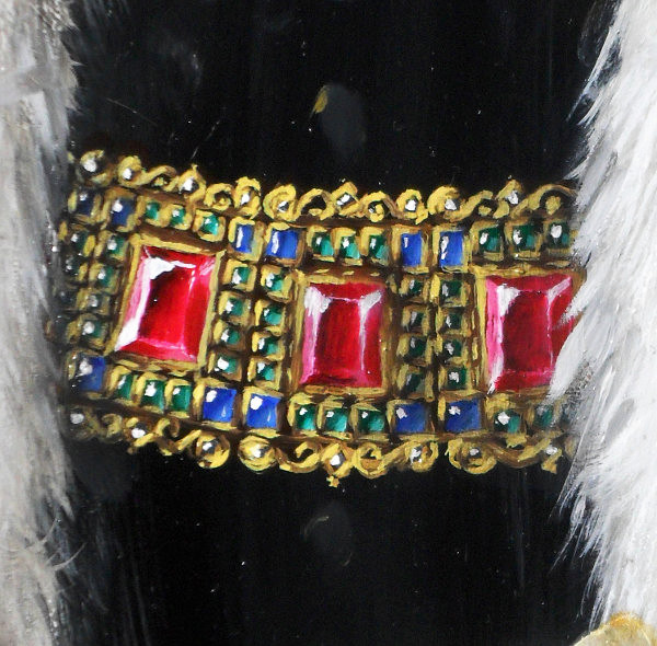 This is a close-up of the ruby, emerald, sapphire and diamond encrusted gold chain. Copyright (c)2016 Paul Alan Grosse