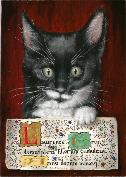 'Lawrence' 6 week old kitten - 12.7x17.8cm - water gilded 24k gold leaf and oil on poplar panel. Copyright (c)2017 Paul Alan Grosse