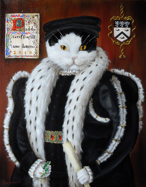 'Paddy' - Black and white cat in the style of painting of Thomas Wentworth, holding a salamander of enamelled gold with emeralds and diamonds. Copyright (c)2016 Paul Alan Grosse